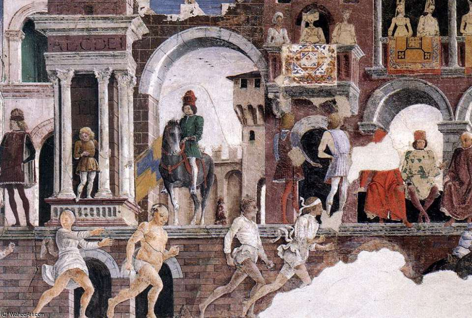 Schifanoia - April and May - Allegory of April (detail)2 by Francesco Del Cossa (1436-1477, Italy)