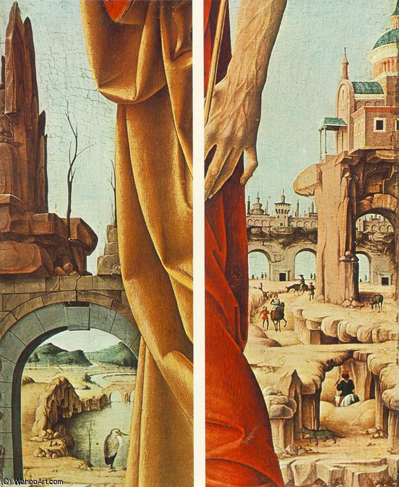 griffoni - St Peter and St John the Baptist (details) by Francesco Del Cossa (1436-1477, Italy) | WahooArt.com