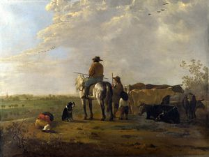 Aelbert Jacobsz Cuyp - A Landscape with Horseman, Herders and Cattle