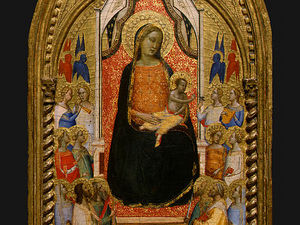 Bernardo Daddi - Madonna and Child with Saints and Angels d3