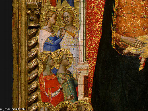 Madonna and Child with Saints and Angels d6 by Bernardo Daddi (1290-1348, Italy) | Museum Quality Reproductions | WahooArt.com