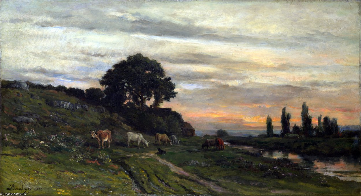 Landscape with Cattle by a Stream by Charles François Daubigny (1817-1878, France)