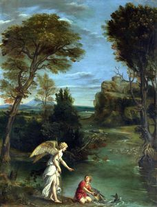 Order Oil Painting : Landscape with Tobias laying hold of the Fish by Domenichino (Domenico Zampieri) (1581-1641, Italy) | WahooArt.com