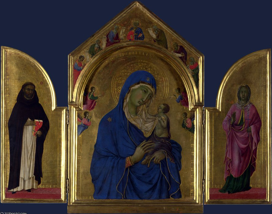 The Virgin and Child with Saints Dominic and Aurea by Duccio Di Buoninsegna (1255-1319, Italy)