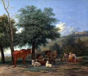 Karel Dujardin - Farm Animals with a Boy and Herdswoman