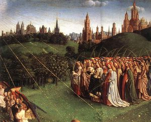 Jan Van Eyck - The Ghent Altarpiece Adoration of the Lamb d top right