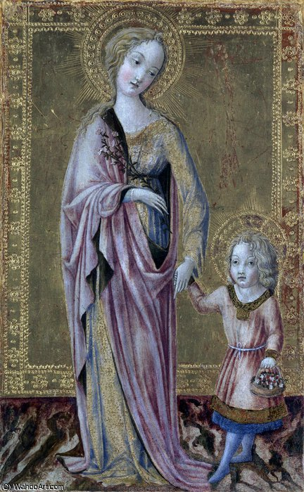 Saint Dorothy and the Infant Christ by Francesco Di Giorgio Martini (1439-1502, Italy) | Art Reproduction | WahooArt.com
