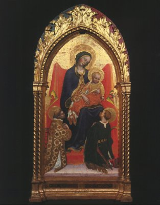 Madonna and Child, with Sts. Lawrence by Gentile Da Fabriano (1370-1427, Italy)