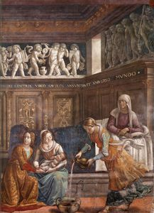 Domenico Ghirlandaio - 1.leftt wall - Birth of Mary (detail)