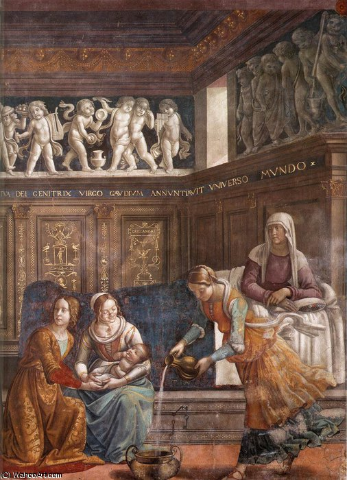 1.leftt wall - Birth of Mary (detail) by Domenico Ghirlandaio (1449-1494, Italy) | Famous Paintings Reproductions | WahooArt.com