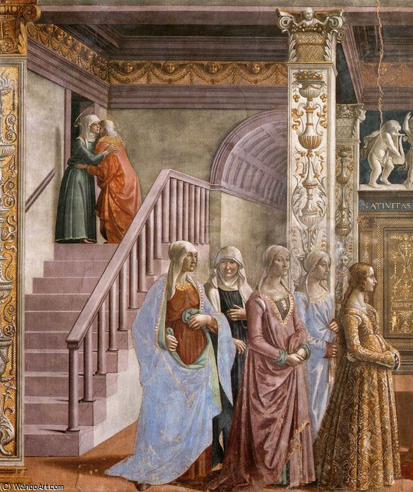 1.leftt wall - Birth of Mary (detail)2 by Domenico Ghirlandaio (1449-1494, Italy) | Museum Quality Reproductions | WahooArt.com