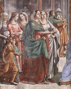 Domenico Ghirlandaio - 1.leftt wall - Marriage of Mary (detail)