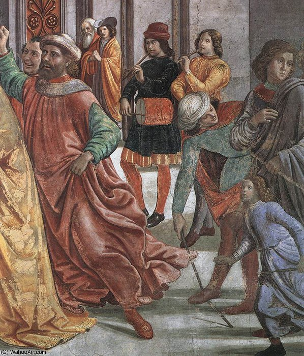 1.leftt wall - Marriage of Mary (detail)2 by Domenico Ghirlandaio (1449-1494, Italy) | Art Reproduction | WahooArt.com