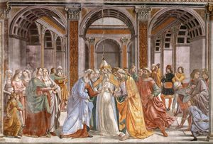 Domenico Ghirlandaio - 1.leftt wall - Marriage of Mary