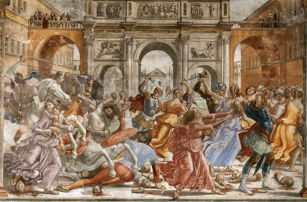1.leftt wall - Slaughter of the Innocents by Domenico Ghirlandaio (1449-1494, Italy)