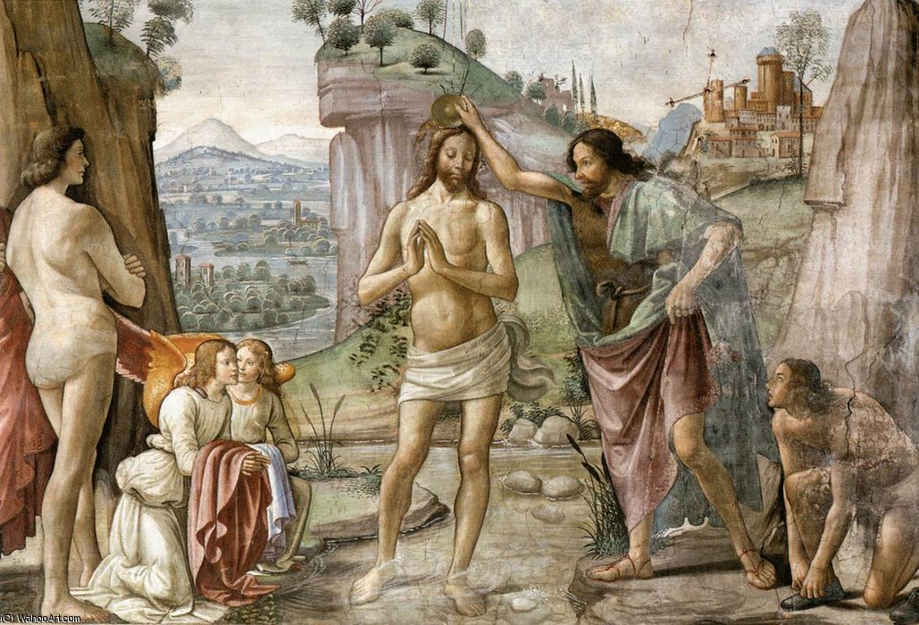 2.right wall - Baptism of Christ (detail) by Domenico Ghirlandaio (1449-1494, Italy)