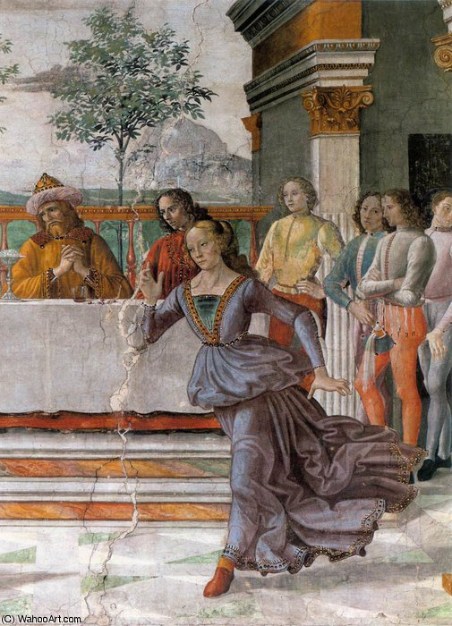 2.right wall - Herod's Banquet (detail) by Domenico Ghirlandaio (1449-1494, Italy)