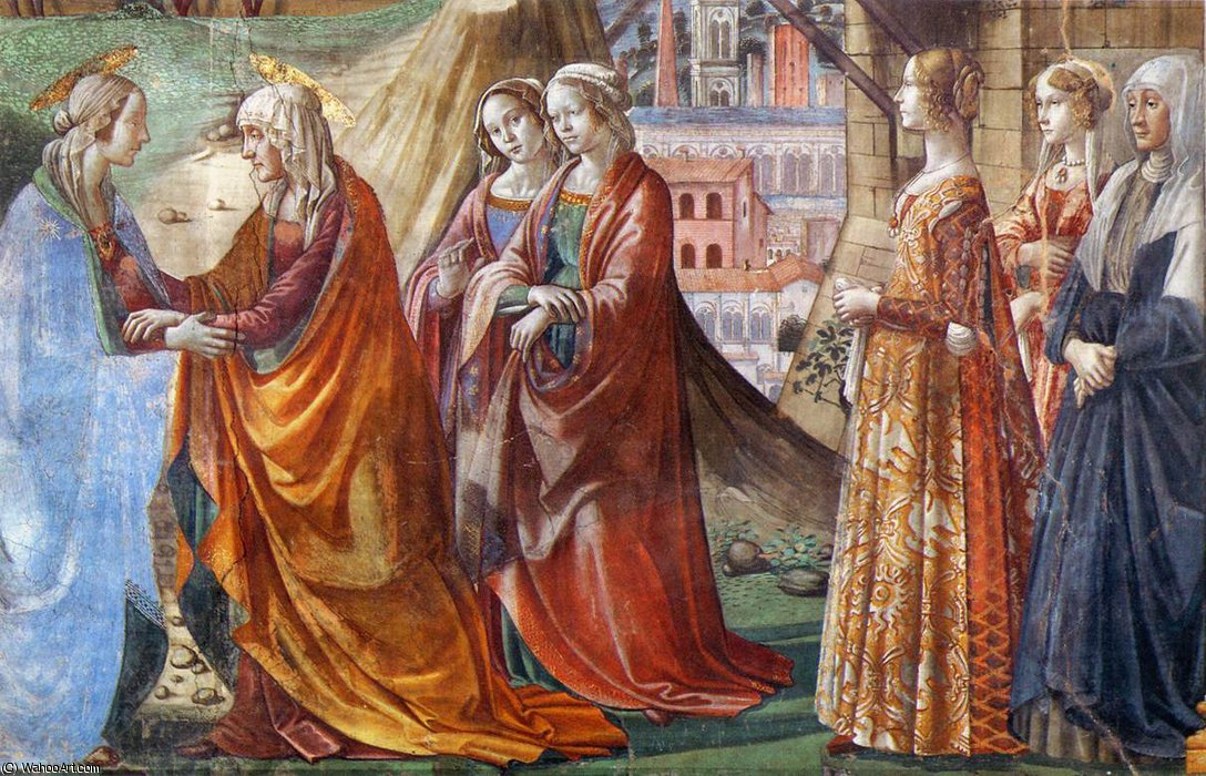 2.right wall - Visitation (detail) by Domenico Ghirlandaio (1449-1494, Italy)