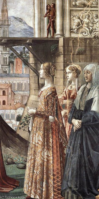 2.right wall - Visitation (detail)3 by Domenico Ghirlandaio (1449-1494, Italy)