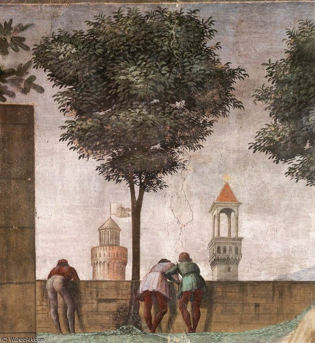 Order Famous Paintings Reproductions : 2.right wall - Visitation (detail)4 by Domenico Ghirlandaio (1449-1494, Italy) | WahooArt.com