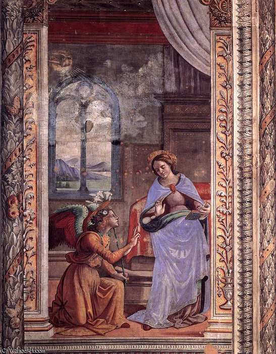 3.rear wall and vaults - Annunciation by Domenico Ghirlandaio (1449-1494, Italy) | Oil Painting | WahooArt.com
