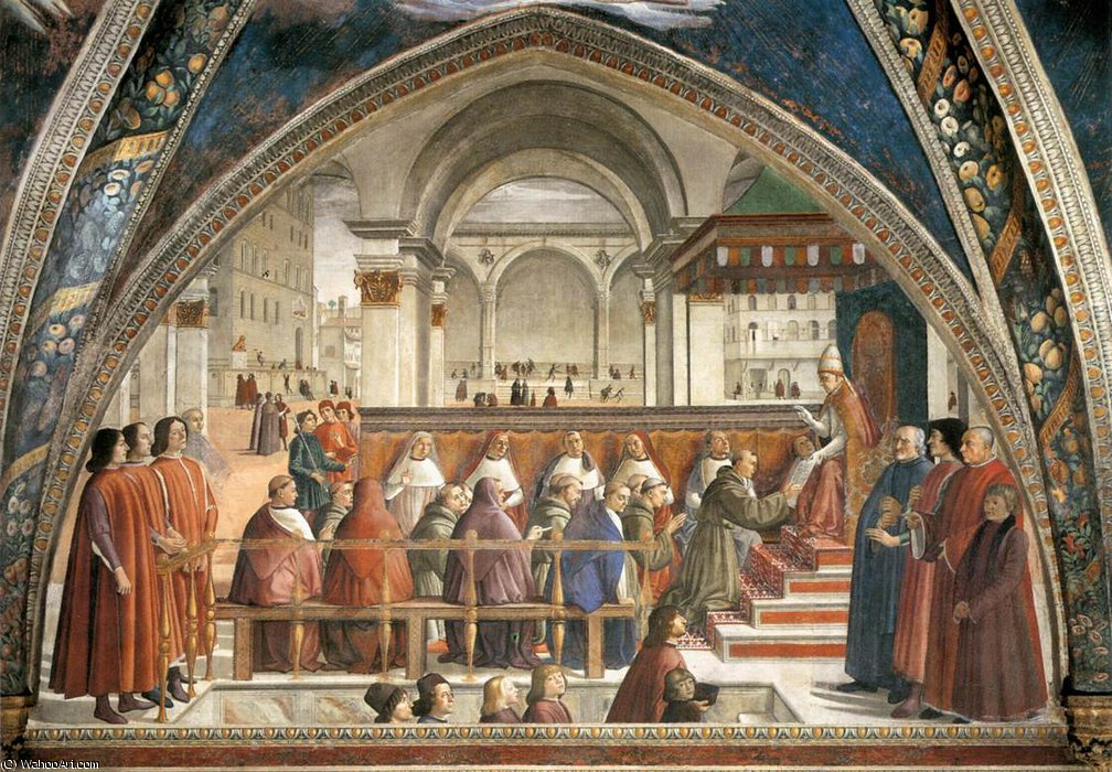 frescoes - Confirmation of the Rule by Domenico Ghirlandaio (1449-1494, Italy) | Art Reproduction | WahooArt.com