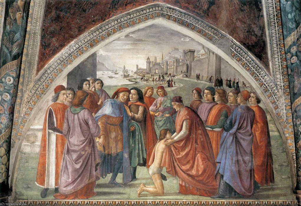 frescoes - Renunciation of Worldly Goods by Domenico Ghirlandaio (1449-1494, Italy) | WahooArt.com
