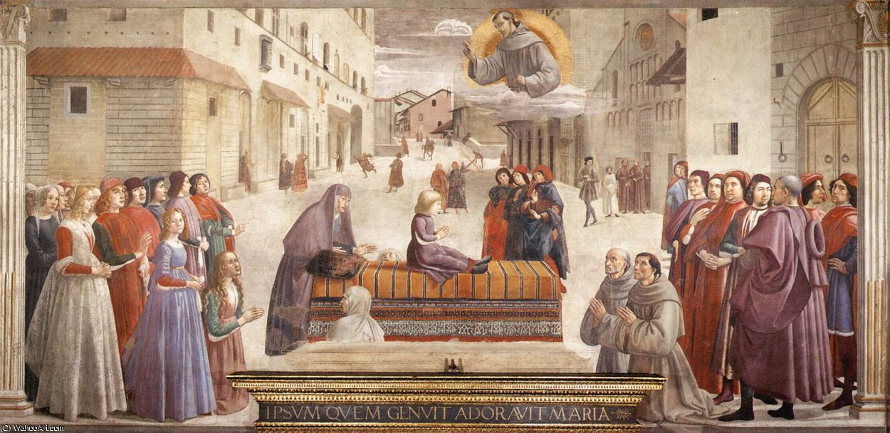 frescoes - Resurrection of the Boy by Domenico Ghirlandaio (1449-1494, Italy) | Famous Paintings Reproductions | WahooArt.com