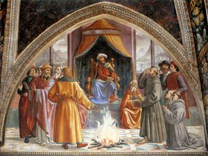 Domenico Ghirlandaio - frescoes - Test of Fire before the Sultan