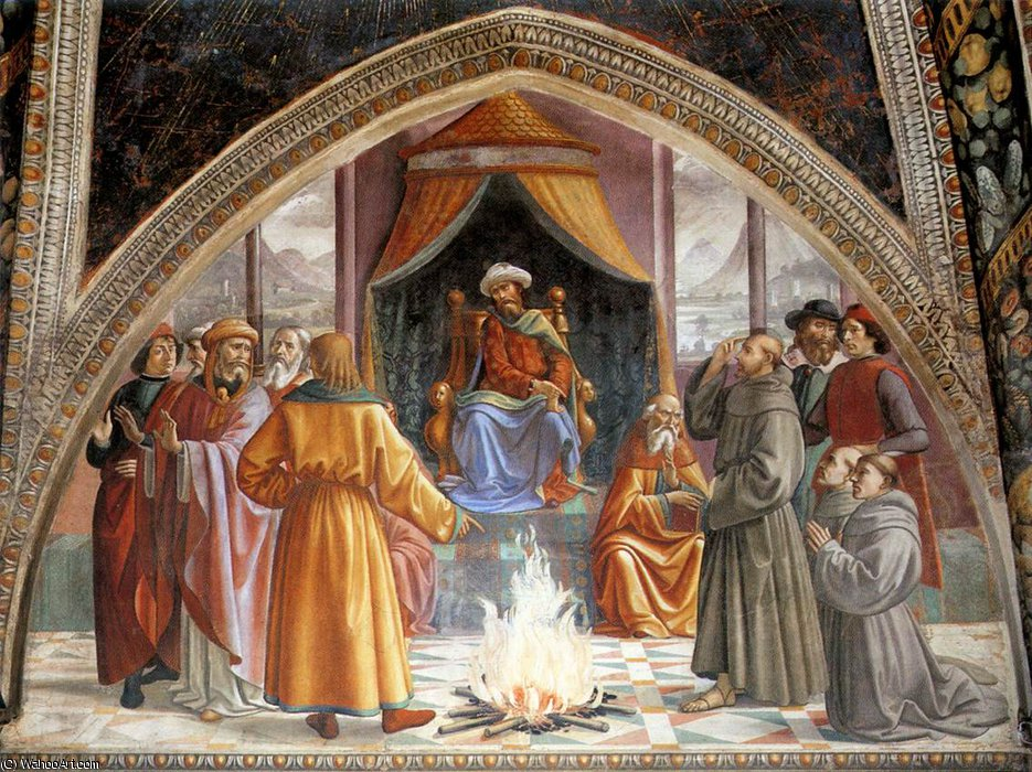 frescoes - Test of Fire before the Sultan by Domenico Ghirlandaio (1449-1494, Italy)