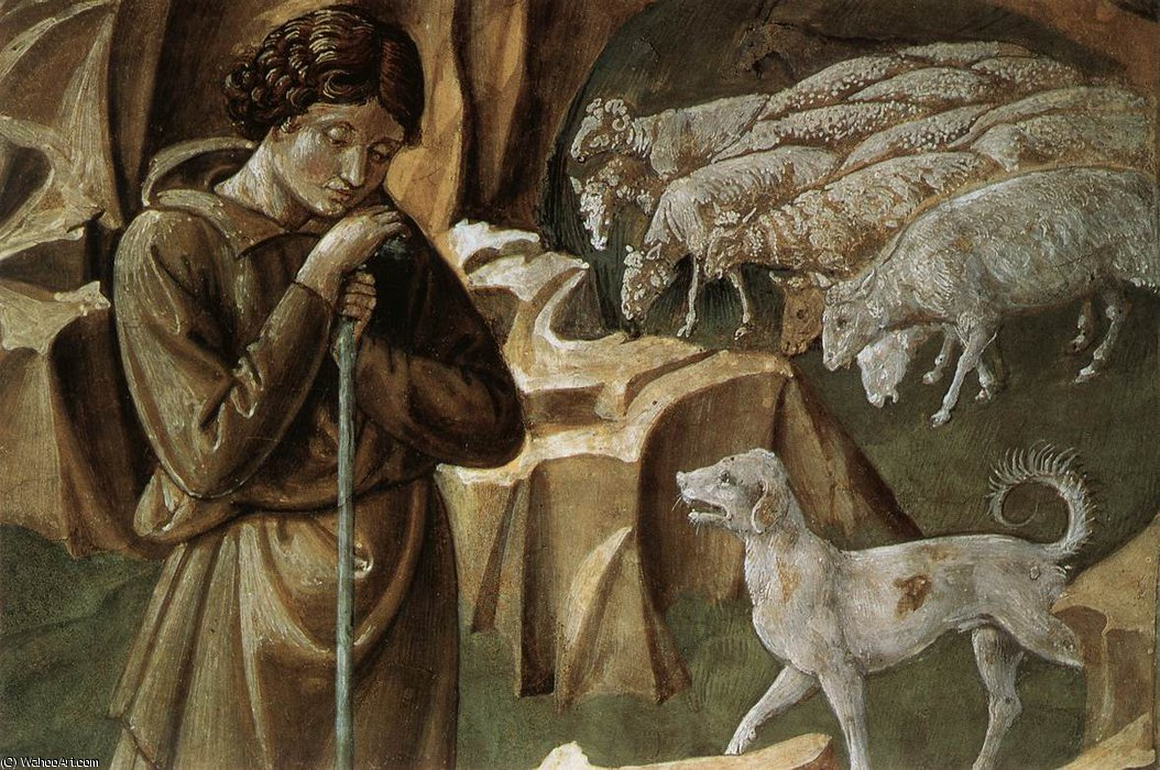 4 - The Vigil of the Shepherds (detail) by Benozzo Gozzoli (1420-1497, Italy) | Museum Quality Reproductions | WahooArt.com