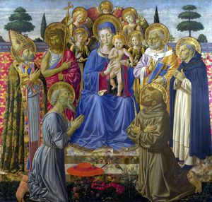 Benozzo Gozzoli - The Virgin and Child Enthroned among Angels and Saints