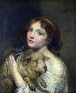 Jean-Baptiste Greuze - A Girl with a Lamb