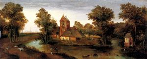 Order Painting Copy : A moated tower with farmhouses by Abel Grimmer (1570-1620, Belgium) | WahooArt.com