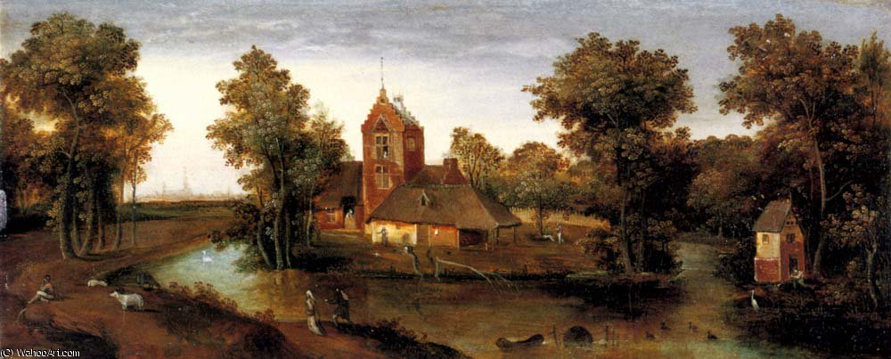 A moated tower with farmhouses by Abel Grimmer (1570-1620, Belgium) | Painting Copy | WahooArt.com