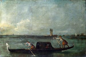 Francesco Lazzaro Guardi - A Gondola on the Lagoon near Mestre