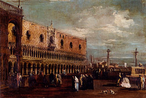 Francesco Lazzaro Guardi - A View of the Piazzetta_Looking South with the Palazzo Ducale