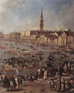 Francesco Lazzaro Guardi - The Doge on the Bucintoro near the Riva di Sant'Elena (detail)