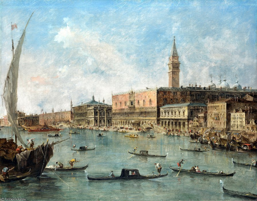 The Doge's Palace and the Molo by Francesco Lazzaro Guardi (1712-1793, Italy)