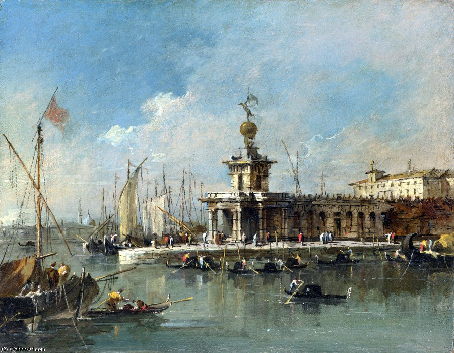 The Punta della Dogana by Francesco Lazzaro Guardi (1712-1793, Italy)