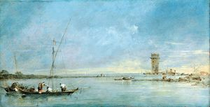Francesco Lazzaro Guardi - View of the Venetian Lagoon with the Tower of Malghera