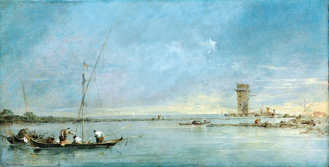View of the Venetian Lagoon with the Tower of Malghera by Francesco Lazzaro Guardi (1712-1793, Italy) | Famous Paintings Reproductions | WahooArt.com