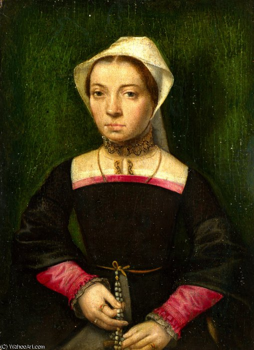A Lady with a Rosary by Catharina Van Hemessen (1528-1587, Belgium) | Museum Quality Copies Catharina Van Hemessen | WahooArt.com