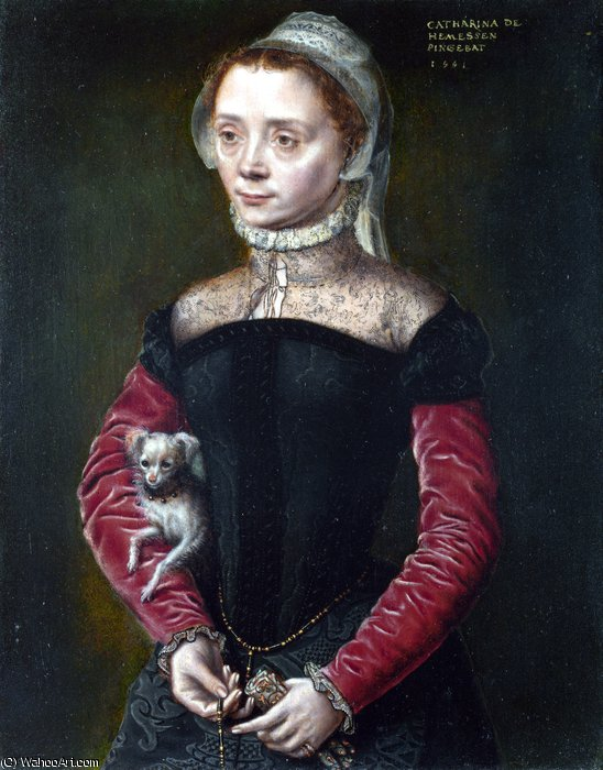 Order Reproductions | Portrait of a Lady by Catharina Van Hemessen (1528-1587, Belgium) | WahooArt.com