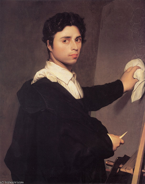 Copy after Ingres-s Self Portrait, 1804 by Jean Auguste Dominique Ingres (1780-1867, France)