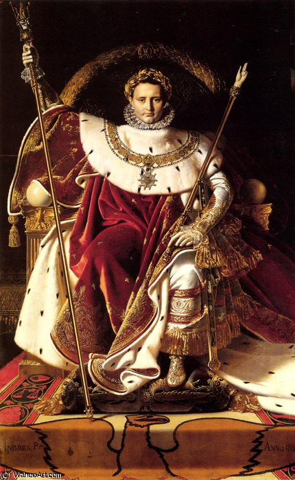 Napoleon I on His Imperial Throne-large by Jean Auguste Dominique Ingres (1780-1867, France) | Oil Painting | WahooArt.com