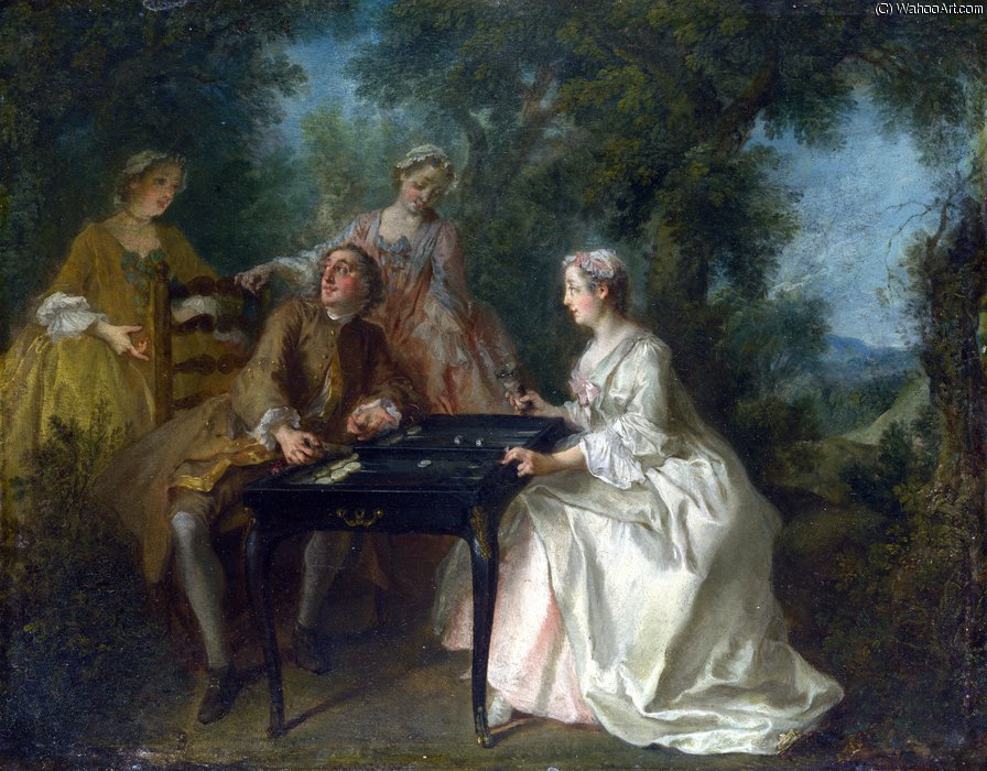 The Four Times of Day - noon by Nicolas Lancret (1690-1743, France) | Art Reproduction | WahooArt.com