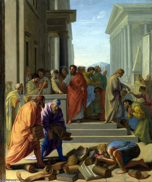 Saint Paul preaching at Ephesus by Eustache Le Sueur (Lesueur) (1616-1655)