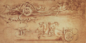 Leonardo Da Vinci - Drawing of an Assault Chariot with Scythes