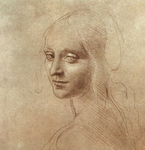 Leonardo Da Vinci - Drawing of the face of the angel from The Virgin of the Rocks
